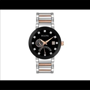Bulova Mens Diamond stainless steel rose gold tone